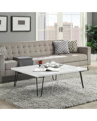 """Telestis Collection 84500 40"""" Coffee Table with Square Shape Industrial Style Black """"V"""" Shaped Geometric Metal Legs Engineered Wood Material and"""
