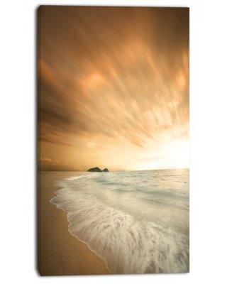 """Design Art 'Beautiful Brown Beach at Sunset' Photographic Print on Wrapped Canvas PT13787- Size: 60"""" H x 28"""" W x 1.5"""" D"""