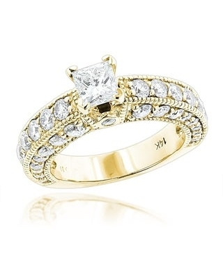 Luxurman 14k Gold 2ct TDW Round and Princess-cut Diamond Engagement Ring (Yellow - 9)