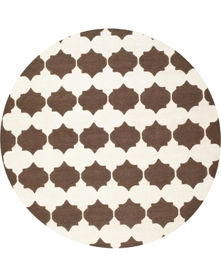 Safavieh Dhurries Brown/Ivory 7 ft. x 7 ft. Round Area Rug