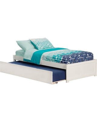 Atlantic Furniture Concord White Twin Platform Bed with Flat Panel Foot Board and Twin Size Urban Trundle Bed