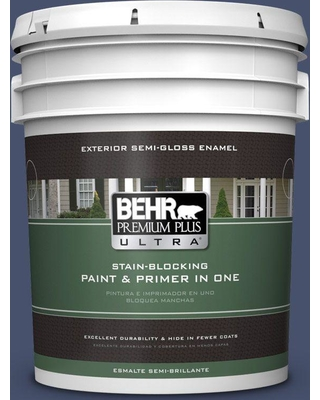 BEHR Premium Plus Ultra 5 gal. #M530-7 Elegant Navy Semi-Gloss Enamel Exterior Paint and Primer in One