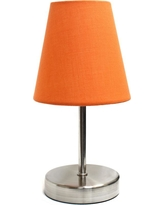 Simple Designs 10.5 in. Sand Nickel Mini Basic Table Lamp with Orange Fabric Shade
