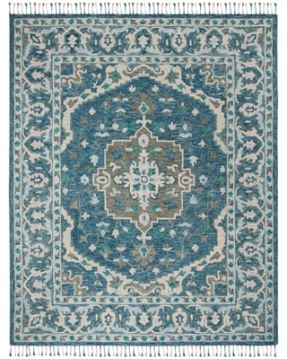 Blue And Gray Floral Medallion Wool Lorena Area Rug - 8' x 10' by World Market