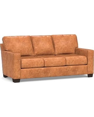Buchanan Square Arm Leather Sofa, Polyester Wrapped Cushions, Statesville  Caramel