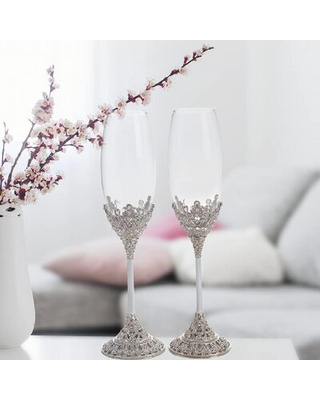 Crystal Set Champagne Flutes - Wedding Glasses For Bride & Groom - Toasting Cups Gift Sets For Couples - Engagement, Wedding, House Warming Gift