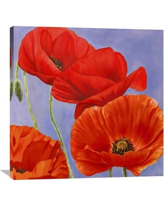 """Global Gallery Dance of Poppies I by Luca Villa Painting Print on Wrapped Canvas GCS-375195- Size: 36"""" H x 36"""" W x 1.5"""" D"""