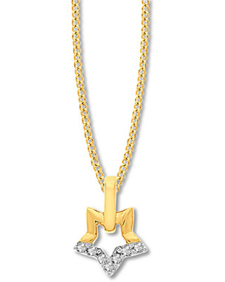 Star Necklace Diamond Accents 10K Yellow Gold
