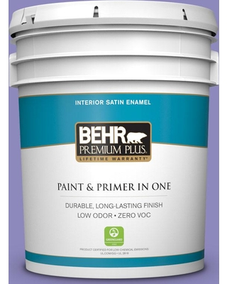 BEHR Premium Plus 5 gal. #630B-6 Butterfly Garden Satin Enamel Low Odor Interior Paint and Primer in One