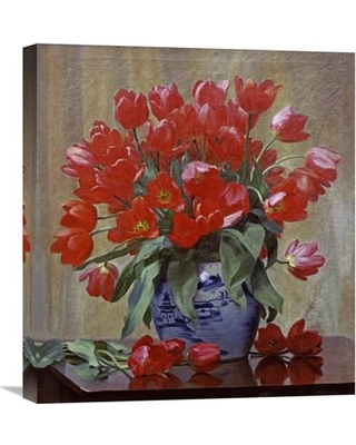 """Global Gallery 'Tulips In a Porcelain Vase' by Peter Johan Schou Painting Print on Wrapped Canvas GCS-268524-22-142 / GCS-268524-30-142 Size: 30"""" H x 27.27"""" W x 1.5"""" D"""