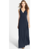 Women's Loveappella V-Neck Jersey Maxi Dress, Size Small - Blue