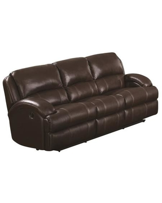 """Capri Collection CA800S-BR 84"""" Recliner Sofa with Sinuous Seat Springs Grade Deluxe Foam Cushion Split Back Cushion and Leather Air Upholstery in"""