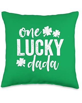 Detour Shirts One Lucky Dada St Patricks Day Gift Green Dad Dark Throw Pillow, 16x16, Multicolor