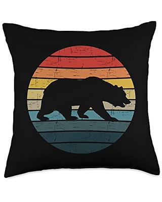 BEAR LOVER PRESENTS Vintage Bear Silhouette In Sunset Retro Sun Colorful Grunge Throw Pillow, 18x18, Multicolor