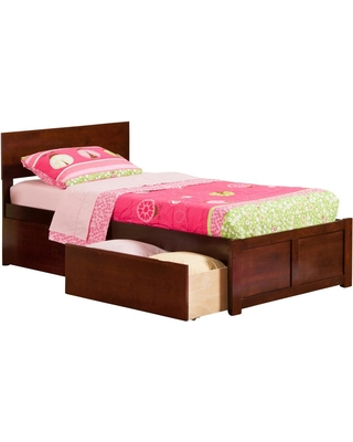 Atlantic Furniture Orlando Walnut (Brown) Twin XL Platform Bed with Flat Panel Foot Board and 2 Urban Bed Drawers