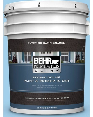 BEHR ULTRA 5 gal. #550A-3 Little Pond Satin Enamel Exterior Paint and Primer in One