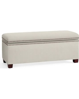 Tamsen Upholstered Storage Bench, Performance Everydaysuede(TM) Stone