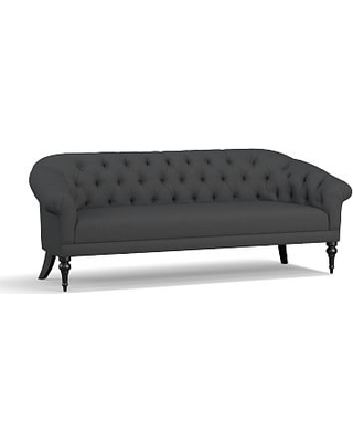 """Adeline Upholstered Sofa 84"""", Polyester Wrapped Cushions, Premium Performance Basketweave Charcoal"""