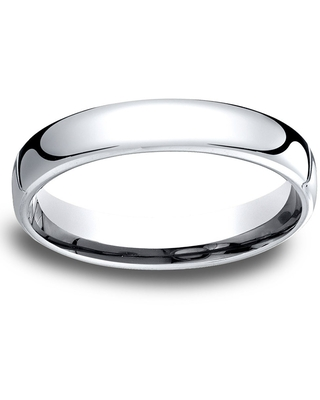 14k White Gold Low-dome 4.5mm Comfort-Fit Wedding Band - 14K White gold (Size 04)