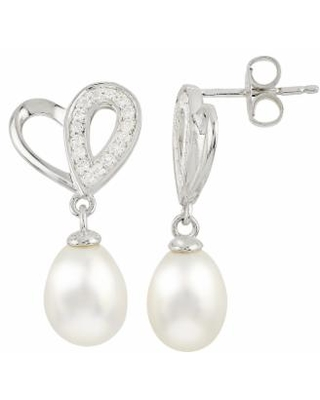 Sterling Silver Freshwater Cultured Pearl and White Topaz Heart Drop Earrings, Women's