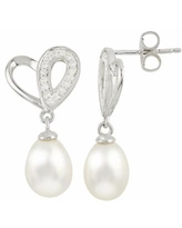 0909f79377 Sterling Silver Freshwater Cultured Pearl and White Topaz Heart Drop  Earrings, Women's