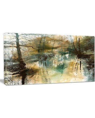 """Design Art 'River and Trees Oil Painting' Painting Print on Wrapped Canvas PT8523- Size: 16"""" H x 32"""" W x 1"""" D"""