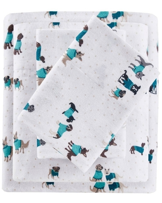 Full Printed Cotton Flannel Sheet Set Teal Dogs