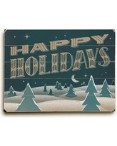 """The Holiday Aisle Happy Holidays Nighttime Graphic Art Plaque THDA8313 Size: 25"""" H x 34"""" W"""