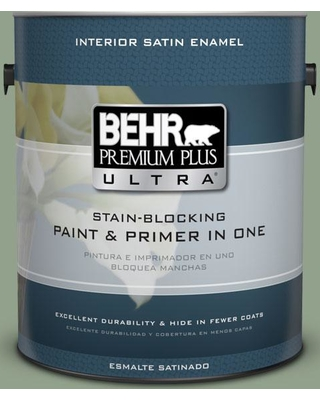 BEHR Premium Plus Ultra 1 gal. #440F-4 Athenian Green Satin Enamel Interior Paint and Primer in One