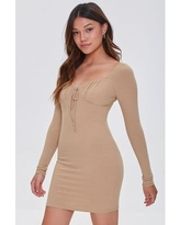 Shirred Long Sleeve Mini Dress in Taupe Large