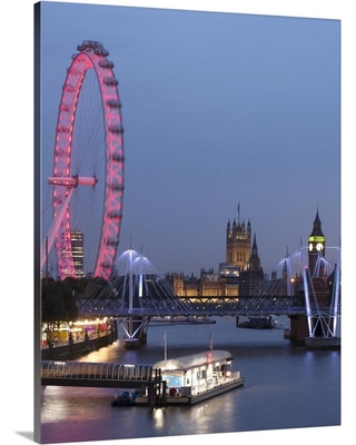 """""""London, England, UK, Hungerford Bridge and The London Eye over Rive...""""by Circle Capture Canvas Wall Art, Multi-Color"""