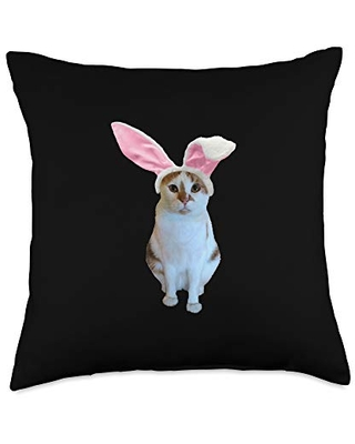 Easter Bunny Basket Gifts Easter Bunny Cat Funny Throw Pillow, 18x18, Multicolor