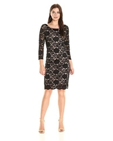 Tiana B Women's 3/4 Sleeve Floral Scaloped Lace Shift, Black/Nude, 10