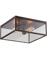 "Montesidro 12""W Bronze Square Glass Outdoor Ceiling Light"