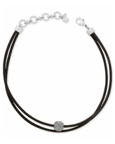 Lucky Brand Silver-Tone Black Leather Crystal Choker Necklace - Silver