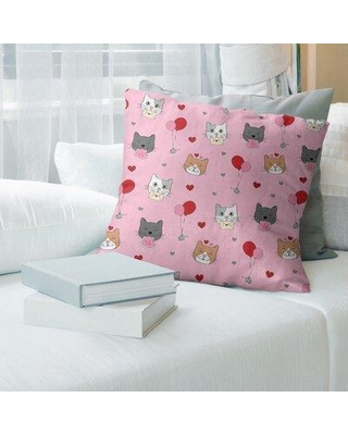 """East Urban Home Holiday Patterns Valentine's Day Cats Pillow Cover EBMQ4253 Size: 20"""" x 20"""" Color: Pink with Brown Glitter"""