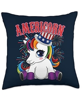 Unicorn Fourth of July - USA Independence Americorn - Patriotic 4th of July Unicorn Throw Pillow, 18x18, Multicolor