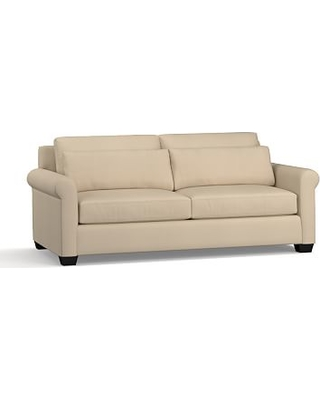 """York Roll Arm Upholstered Deep Seat Sofa 84"""", Down Blend Wrapped Cushions, Twill Parchment"""