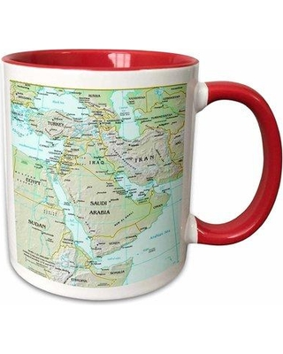 Symple Stuff Minix Map of Middle East Coffee Mug W000279900 Color: Red