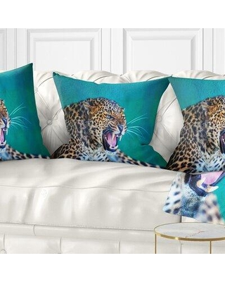 "East Urban Home Abstract Wild Leopard Close up View Pillow FTIF4418 Size: 18"" x 18"" Product Type: Throw Pillow"