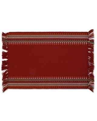 DII Hacienda Stripe Fringed Placemats in Red (Set of 6)
