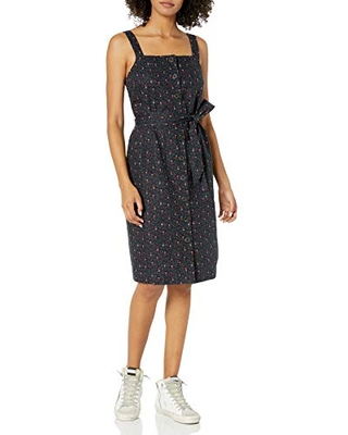 Amazon Brand - Goodthreads Women's Washed Linen Blend Apron Dress with Pockets, Navy Mini Floral, X-Large