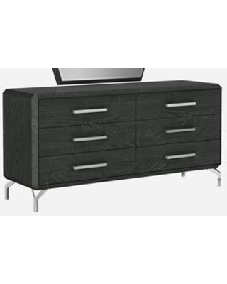 """Los Angeles Collection DR1618D-GRY 67"""" Dresser with 6 Self Closing Runner Drawers Silver Metal Handles Polished Metal Legs Medium-Density"""
