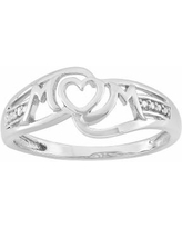 """""""Diamond Accent Sterling Silver Heart """"Mom"""" Ring, Women's, Size: 6, White"""""""