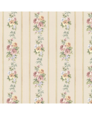 Norwall Small Rose Stripe Wallpaper, Beige/Pink/Yellow/Light Blue
