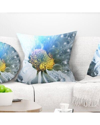 """East Urban Home Floral Large Flower with Raindrops Pillow FTIF7670 Size: 18"""" x 18"""" Product Type: Throw Pillow"""