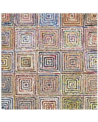 Safavieh Nantucket Otis 8 x 8 Creme Square Indoor Abstract Bohemian/Eclectic Handcrafted Area Rug | NAN608A-8SQ