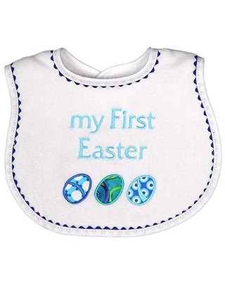 Raindrops Embroidered Bib, My First Easter/Royal Blue
