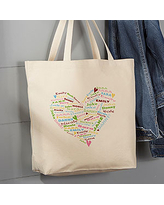 Her Heart of Love Personalized Large Canvas Tote Bag