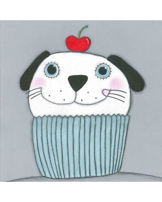 """Marmont Hill 'Doggy with Cherry' by Tatijana Lawrence Painting Print Canvas Art MH-LAW-25-C Size: 32"""" H x 32"""" W x 1.5"""" D"""